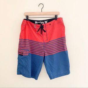 Hurley Swim Trunk Board Shorts Red & Blue Stripe